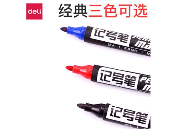得力 6881 黑色粗头物流油性记号笔大头笔 (10支盒)