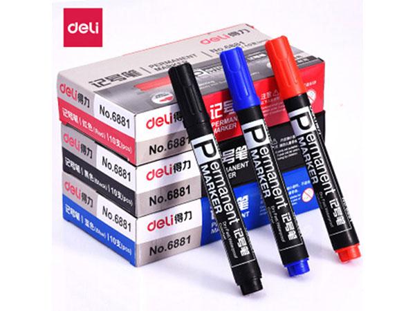 得力 6881 蓝色粗头物流油性记号笔大头笔 (10支盒)