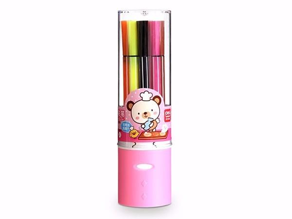 得力 7065 绚丽多彩可洗水彩笔/画笔 12色/桶 包装粉