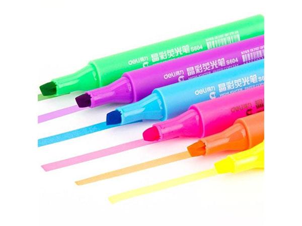 得力 33111 6色荧光考试复习充电标记笔 手账可用水性记号笔6支/盒