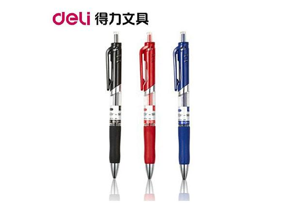 得力 S01 0.5mm按动中性笔办公签字笔 子弹头红色水笔12支/盒