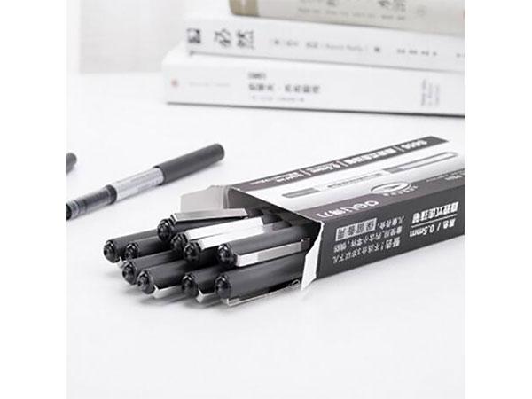 得力 S656 0.5mm黑色直液式走珠签字笔学生考试中性笔 12支/盒