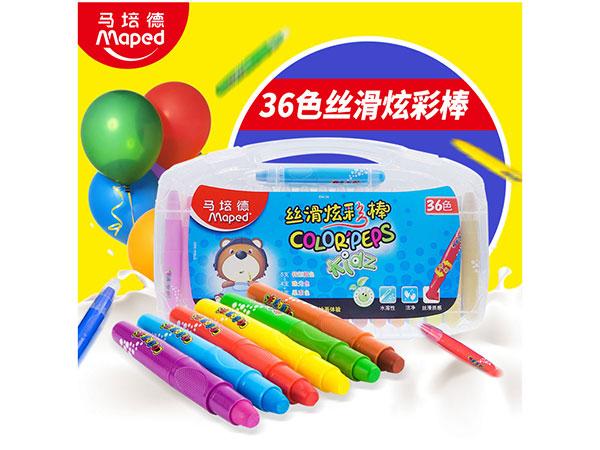 马培德 836136 水溶性丝滑炫彩棒36色/旋转画笔/油画棒