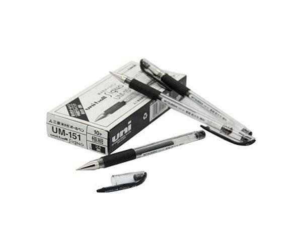 三菱UM-151财务用笔0.38M学生用中性签字笔蓝色(替芯URM-1)黑色10支装