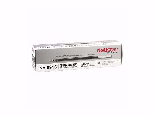 得力 6916 0.5mm黑色中性笔替芯 子弹头水笔签字笔替芯 20支/盒
