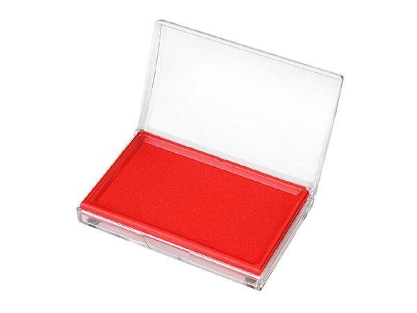 得力 9864 137*88mm 透明外壳长方形快干印台 红色