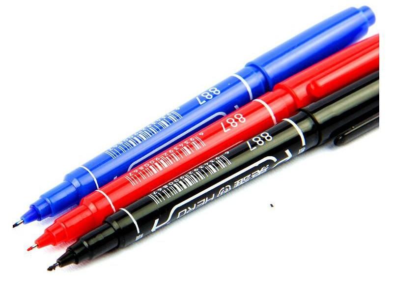 887英雄小双头记号笔 红色