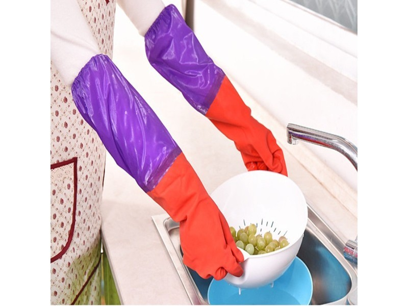 53CM加长 红色拼接紫色乳胶手套