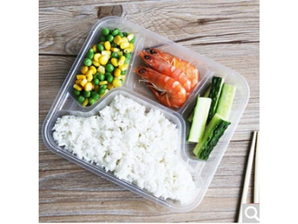鑫康 带盖透明四格餐盒 150套/箱