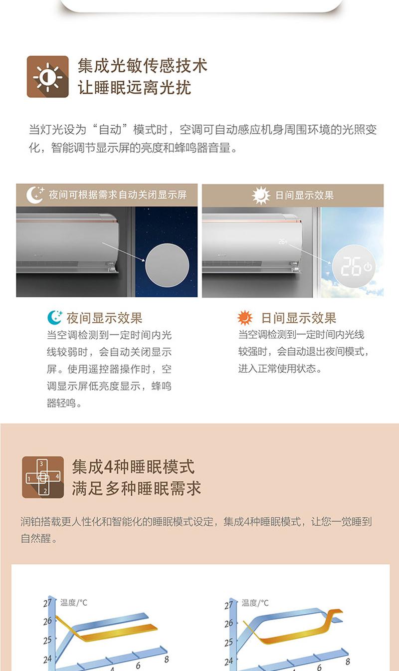 详情5格力(GREE)大1匹 润铂 变频冷暖 一级能效 壁挂式空调KFR-26GW/(26553)FNhAb-A1