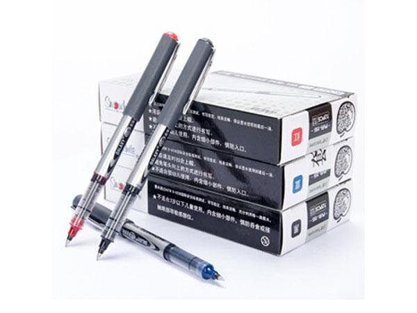 白雪0.5MM红色直液式走珠笔学生考试中性笔签字笔水笔12支/盒 PVR-155