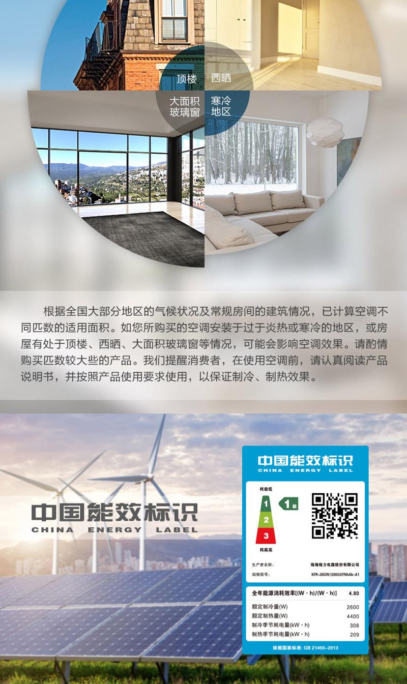 详情8格力(GREE)大1匹 润铂 变频冷暖 一级能效 壁挂式空调KFR-26GW/(26553)FNhAb-A1