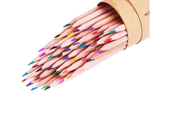 得力 48色原木油性彩色铅笔 秘密花园天色彩铅 三角笔杆 桶装 6554