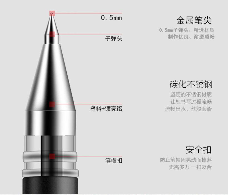 详情页9得力0.5mm中性笔笔芯6600ES替芯 黑色子弹头 20支/盒