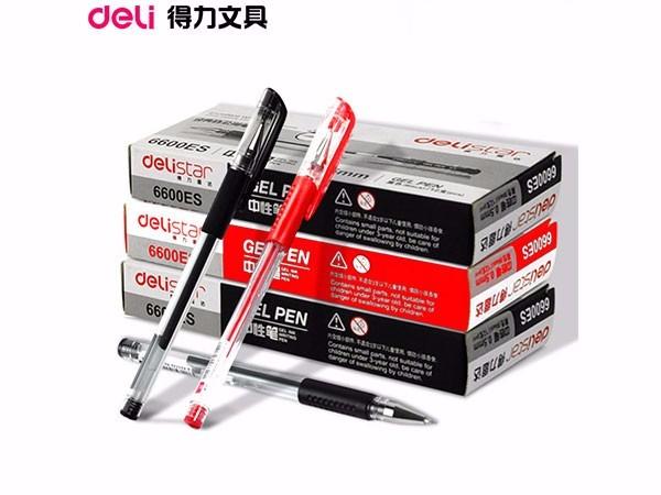 得力0.5mm中性笔笔芯6600ES替芯 红色子弹头 20支/盒