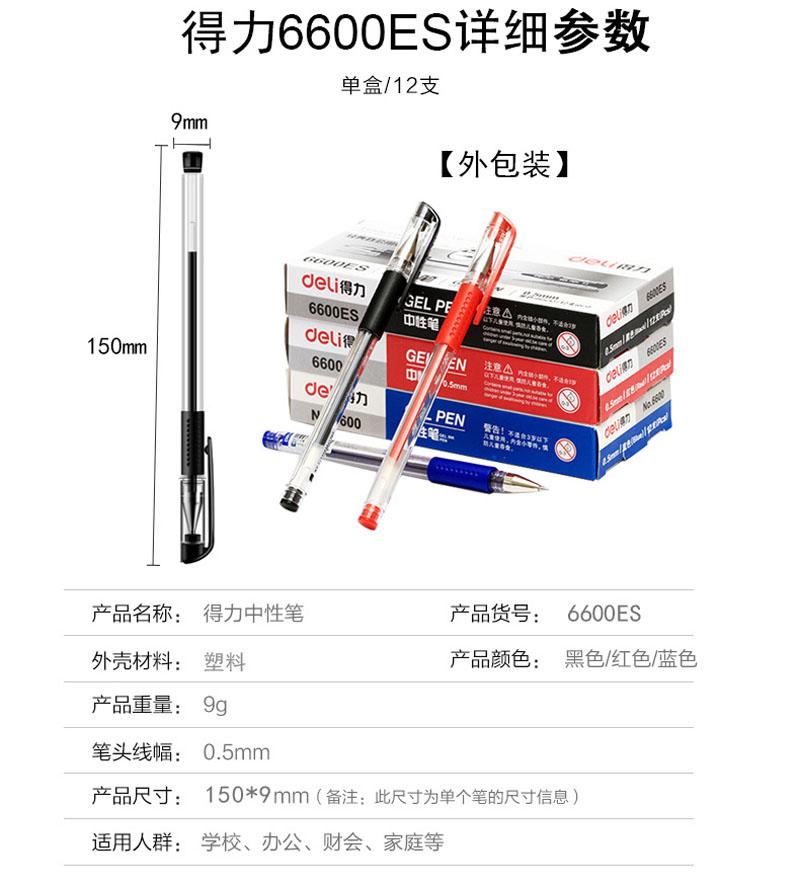 详情页1得力0.5mm中性笔笔芯6600ES替芯 红色子弹头 20支/盒
