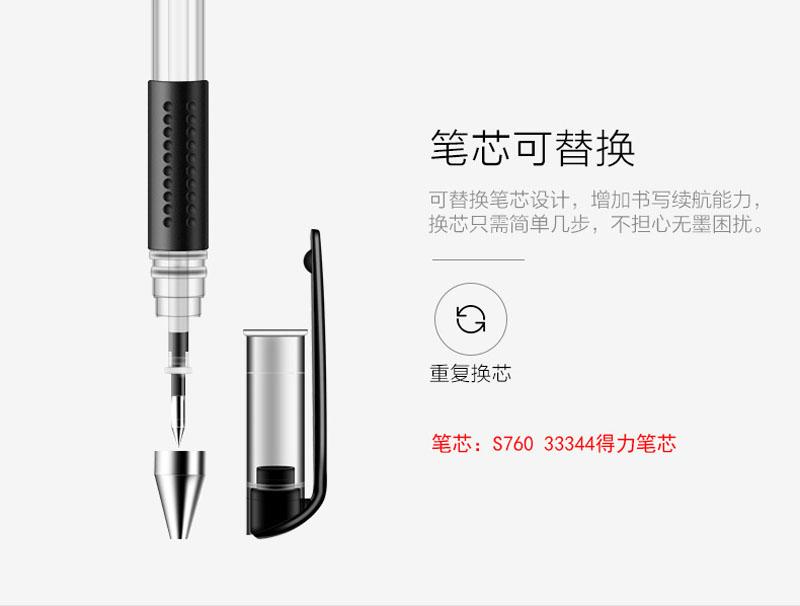 详情页6得力0.5mm中性笔笔芯6600ES替芯 蓝色子弹头 20支/盒