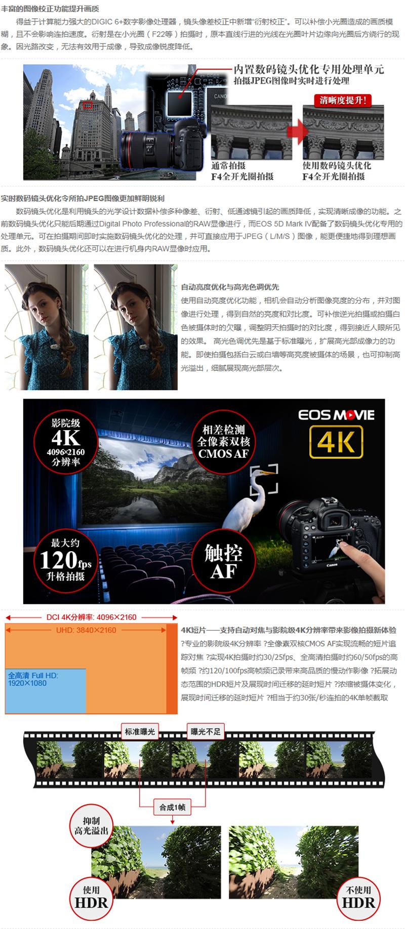 佳能(Canon)EOS 5D Mark IV 套机(EF 24-70mm f/4L IS USM) 单反相机