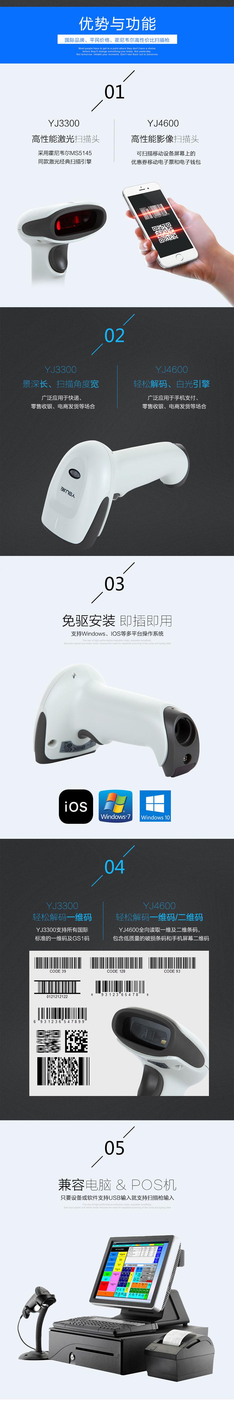 霍尼韦尔(Honeywell)优解 条码扫描枪 超市扫码枪 收银扫码器 YJ4600 二维/影像/黑色USB口