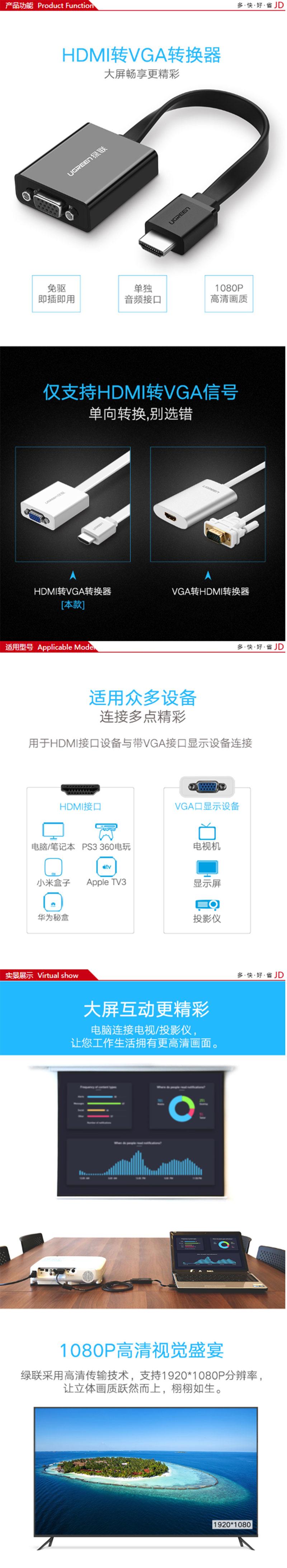 绿联40248 HDMI(高清)转VGA 带音频