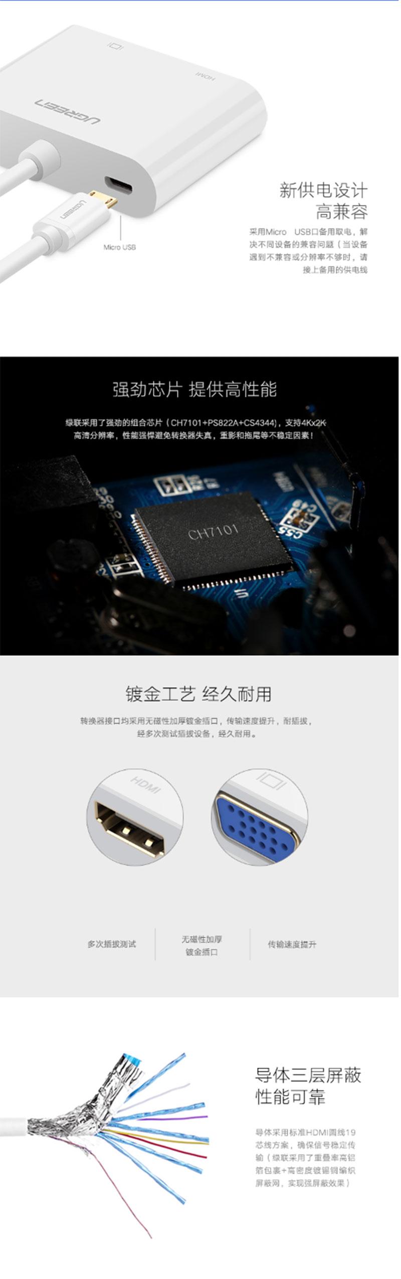 绿联30355 Micro HDMI转HDMI+VGA双接口