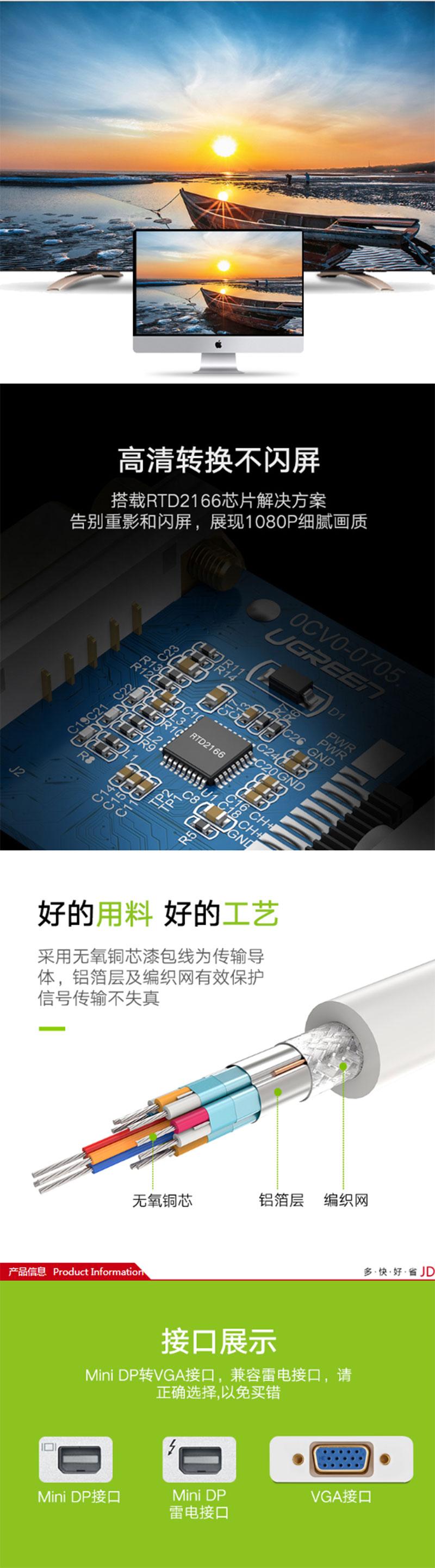 绿联10458 Mini DP(雷电)转VGA