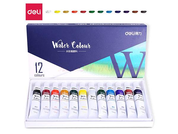 得力(deli)73850 美术绘画水彩颜料 12色盒装