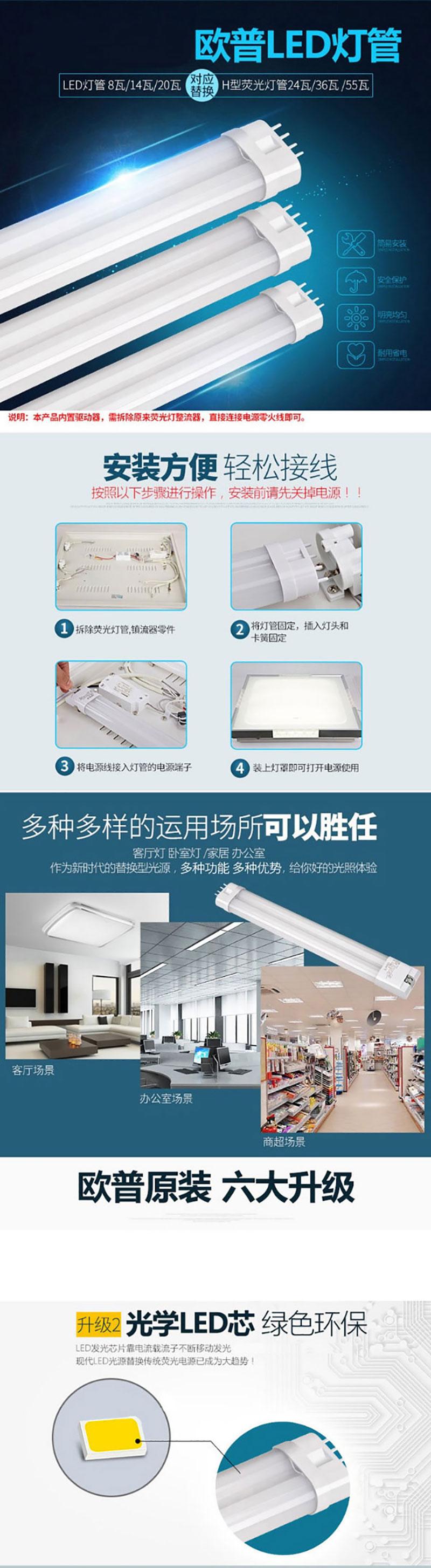 欧普照明(OPPLE) LED灯管灯板节能一体化 替换55瓦H荧光灯管长52.5厘米20瓦5700K白光