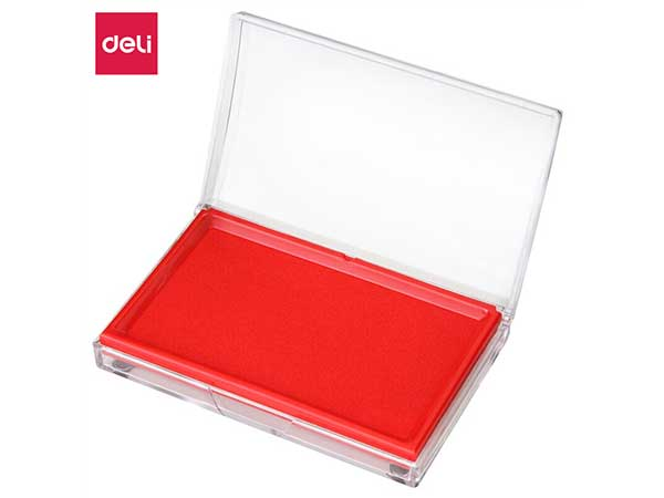 得力(deli)13788mm透明外壳方形快干印台印泥 红色9864