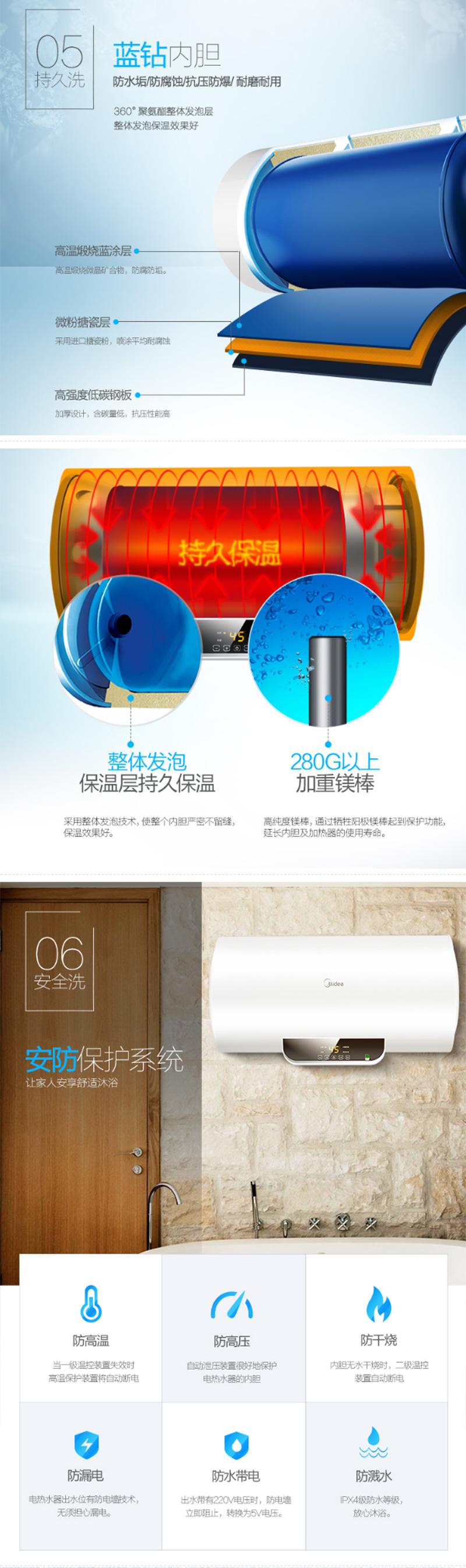 美的(Midea)2100W速热电热水器60升 无线遥控 预约洗浴 一键保温 加长防电墙F60-15WB5(Y)