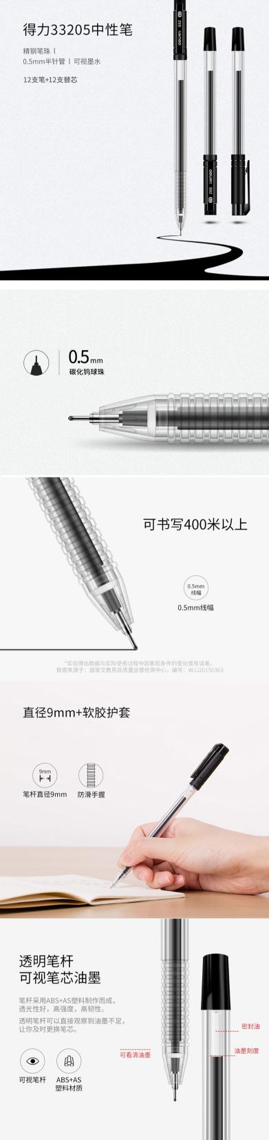 得力33205中性笔(12+12/卡) 黑色