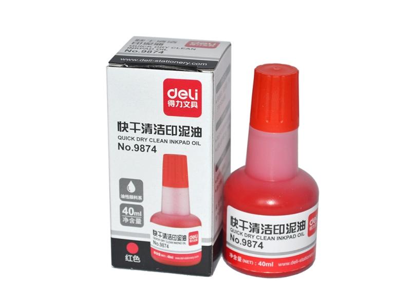 9874得力快干清洁印泥油(红)