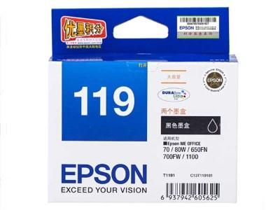 爱普生 119 T119两只装 1100 80W 700FW 650FN T123黑色墨盒
