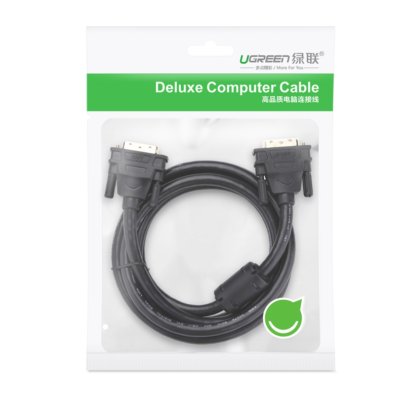 绿联11604 DVI连接线 DVI24+1转换线 DVI-D公对公双通道转换器