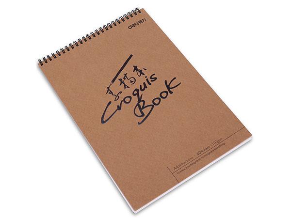 得力 73357 A4/40张牛皮纸款专业美术素描本速写本 彩铅绘画本涂鸦本