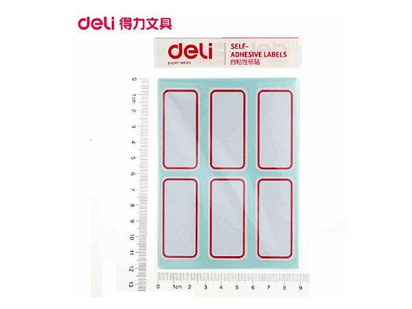 得力 108枚25*30mm红框不干胶标签纸自粘性标贴纸姓名贴 9枚/张7191-R