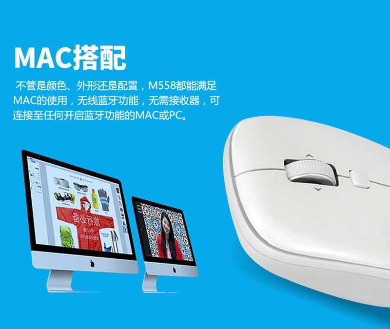 罗技(Logitech)M558蓝牙无线鼠标 MAC苹果家用办公电脑笔记本鼠标 白色