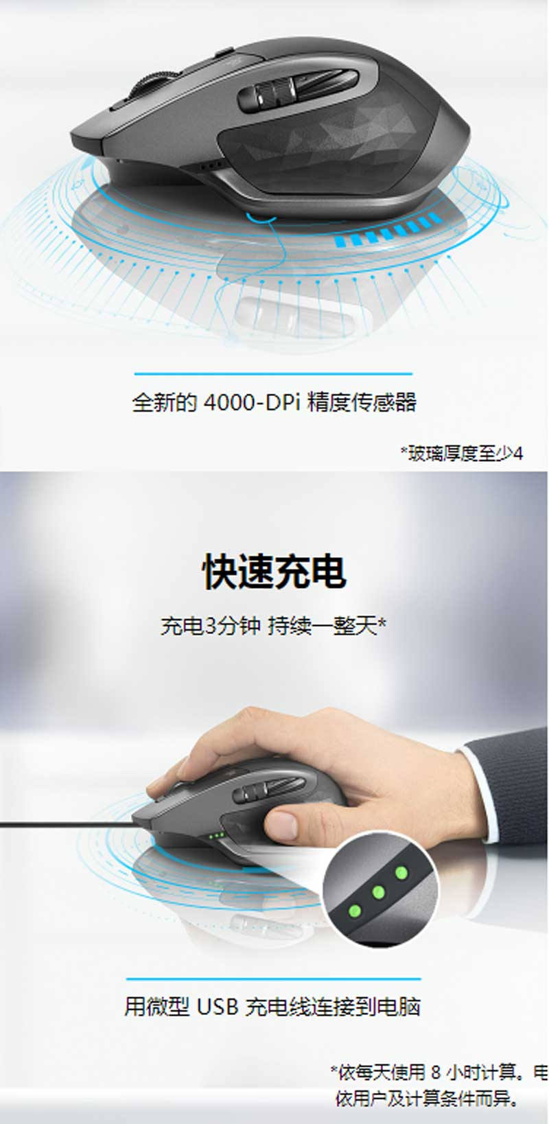 罗技(Logitech)MX Master 2S 无线鼠标 无线蓝牙优联双模跨计算机控制鼠标 儒雅黑