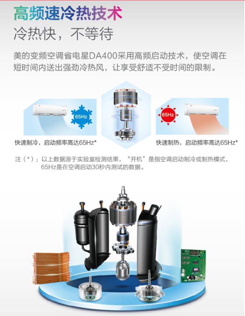 美的(Midea)2匹 二级能效 变频冷暖 空调挂机 省电星 KFR-50GW/BP2DN1Y-DA400(B2)