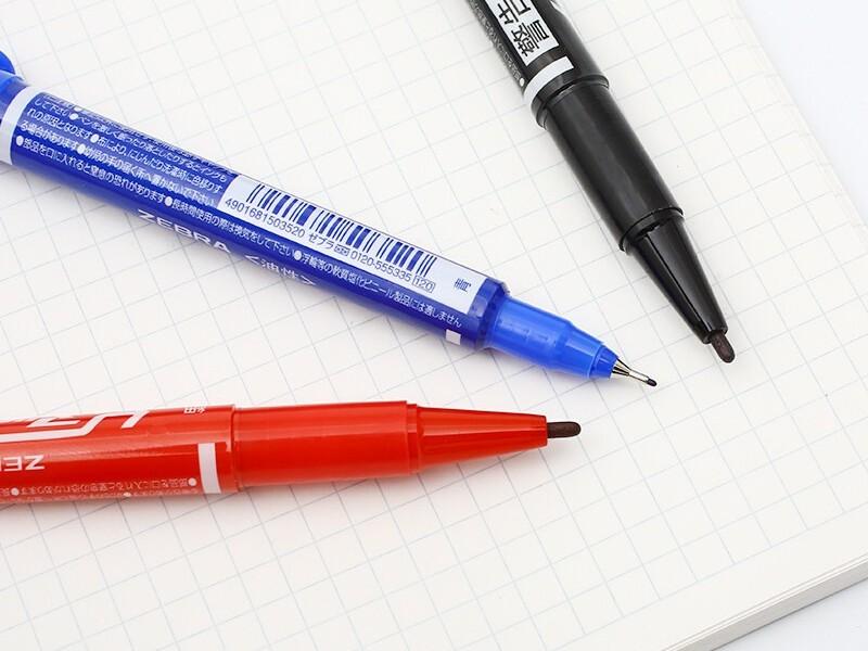 MO-120斑马小双头油性笔 红色