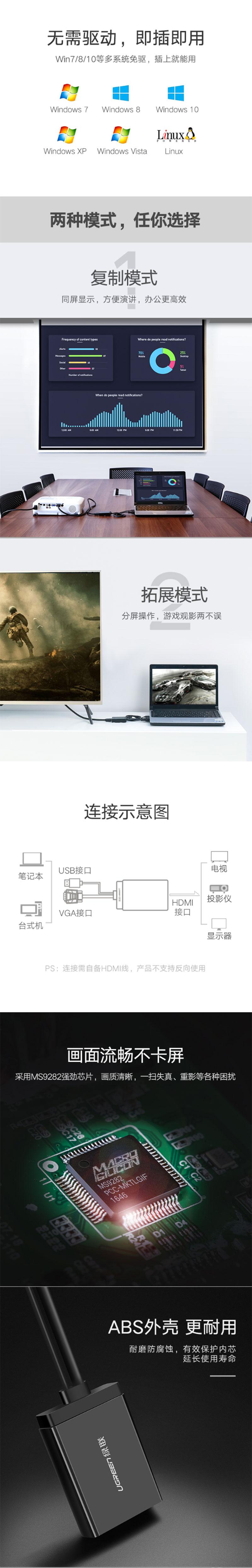 绿联40213 VGA转HDMI转换线