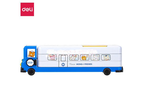 得力(deli) 70855 可行驶校车文具盒 马口铁三层可折叠铅笔盒 蓝色