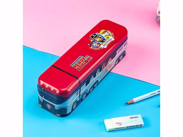 得力(deli) 红色70854汪汪队立大功救援大巴车文具盒多功能收纳盒笔袋