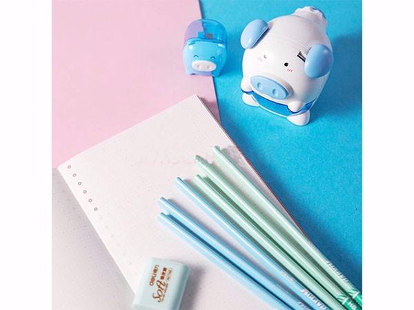 得力(deli) 粉色68900 猪年纪念版学生削笔机铅笔橡皮擦套装