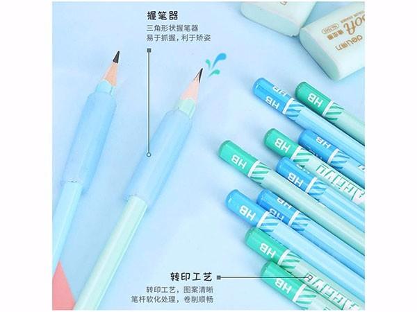 得力(deli) 蓝68896 学生文具礼盒套装铅笔卷笔刀橡皮擦握笔器
