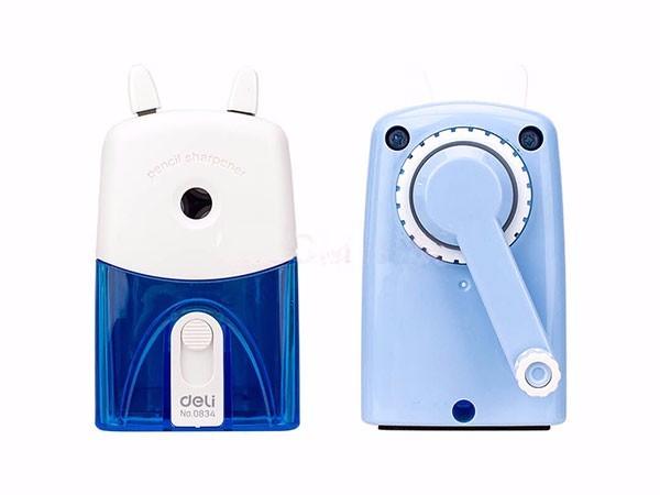 得力(deli)  蓝色0834 多功能学生手摇削笔机 带卷笔刀铅笔削笔器