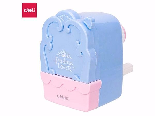 得力(deli) 粉蓝色0832 公主镜学生手摇自动进笔削笔机
