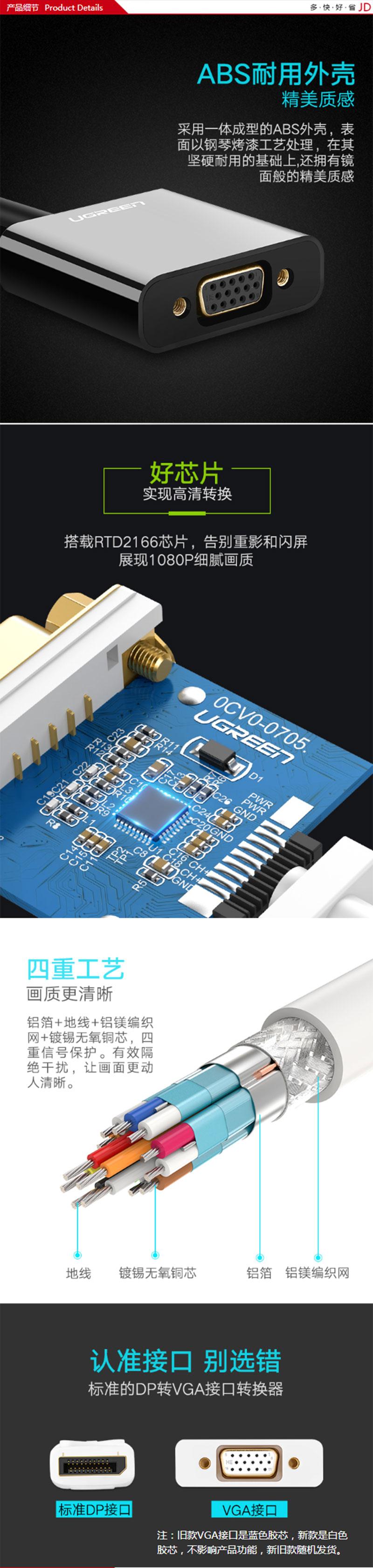 绿联20415 DP转VGA 不带音频