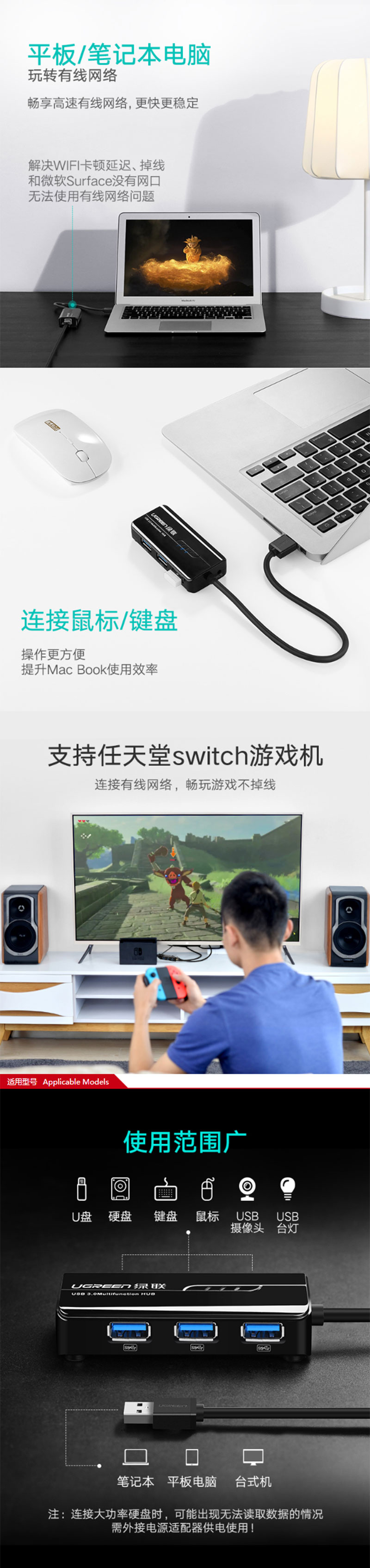 绿联20265 USB3.0 HUB+千兆网口