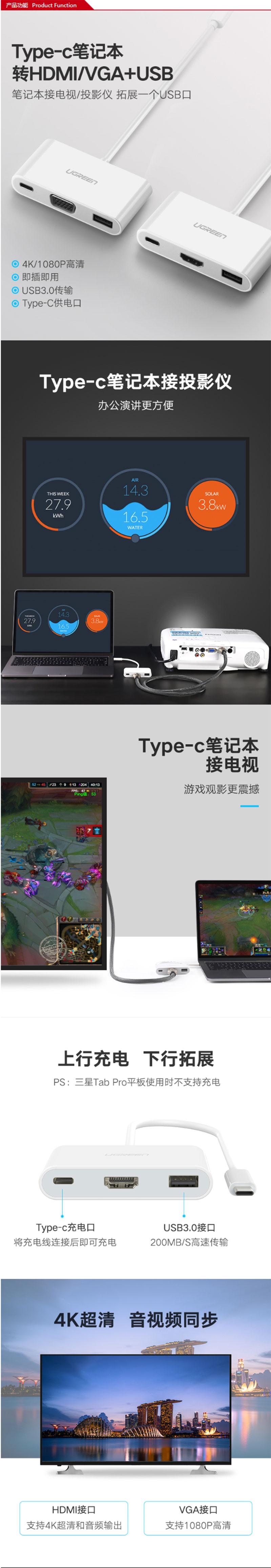 绿联30377 TYPE-C转HDMI+HUB